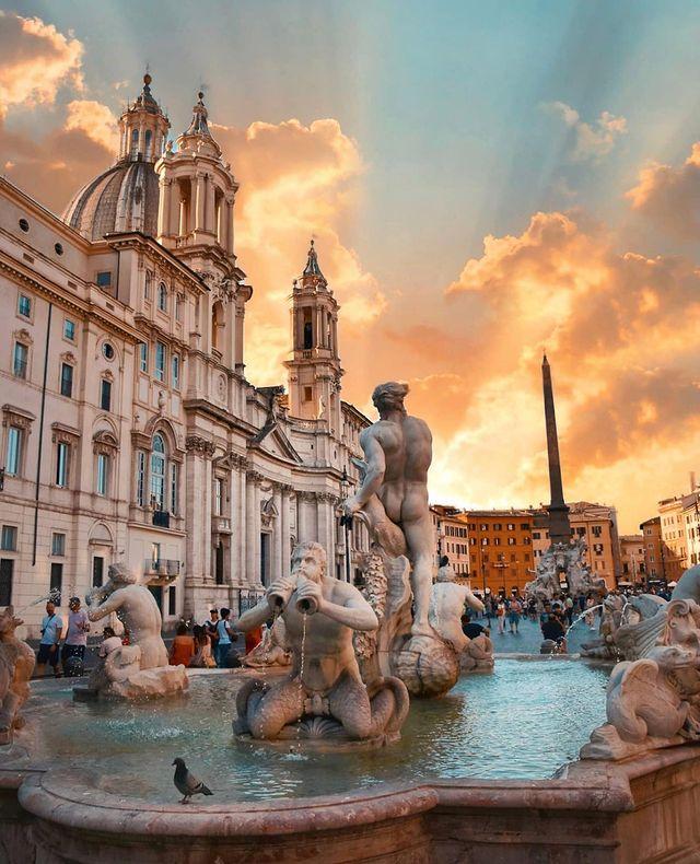 fuente en piazza navona de roma