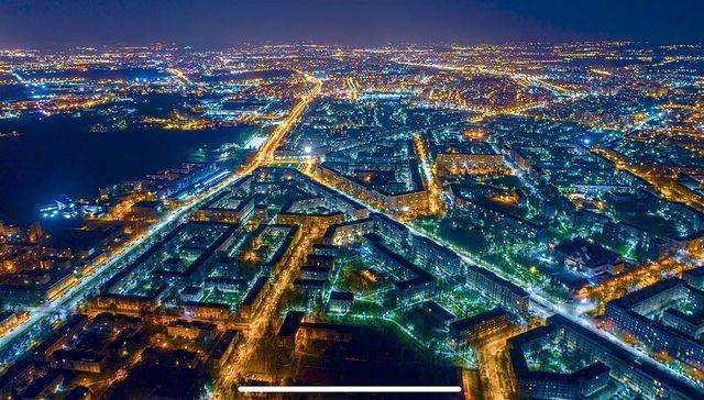 nowa huta cracovia vista aerea nocturna