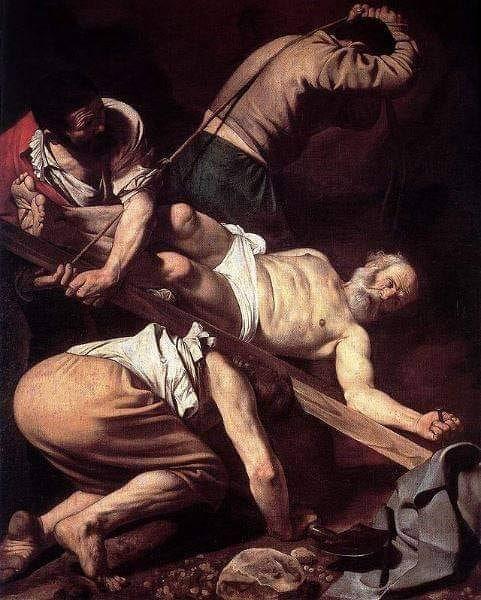 Crucifixion de san pedro, Caravaggio del interior de santa maria del popolo en roma